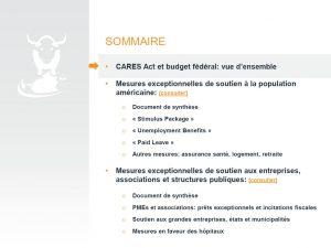 CARES ACT 2020 - La réponse américaine au COVID-19 - Sommaire
